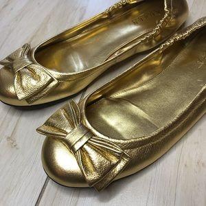 Lauren Ralph Lauren Shiny Gold Ballet Flats